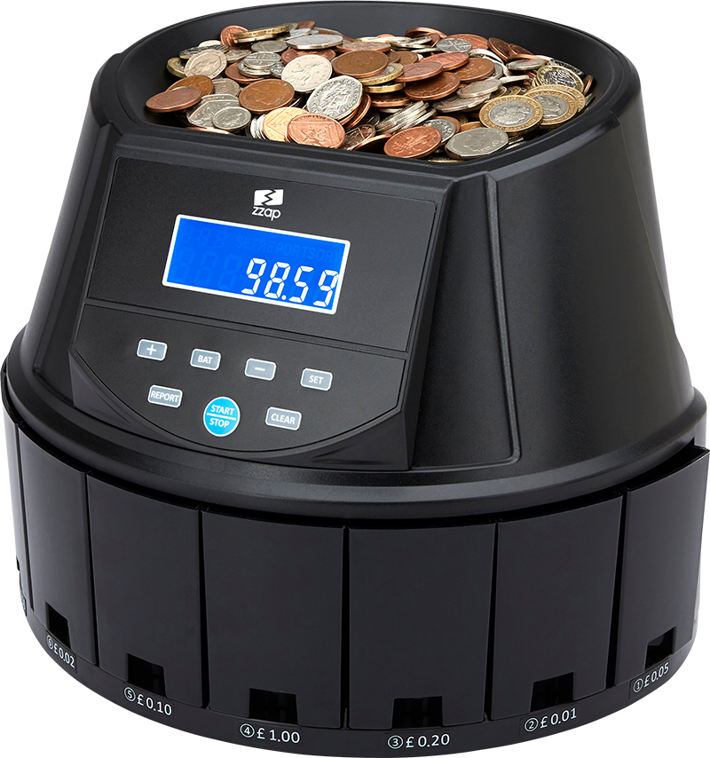 cash counting machine counting GBP coins