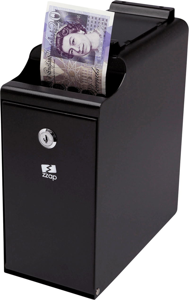 Insert one or more banknotes/coins for secure storage