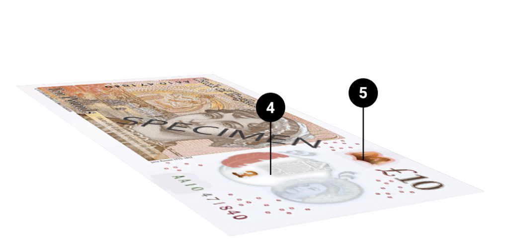 Spotting counterfeit ten pound notes
