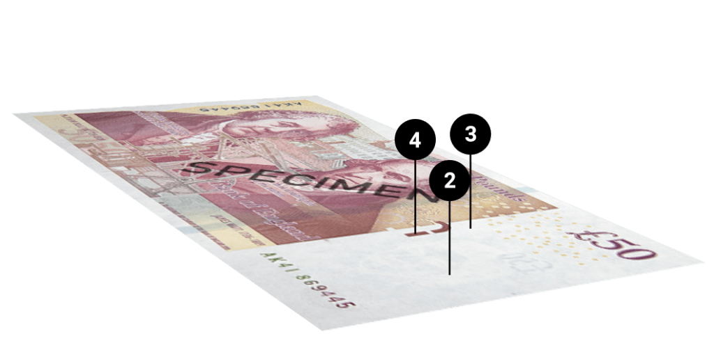 Tips on spotting counterfeit fifty pound notes